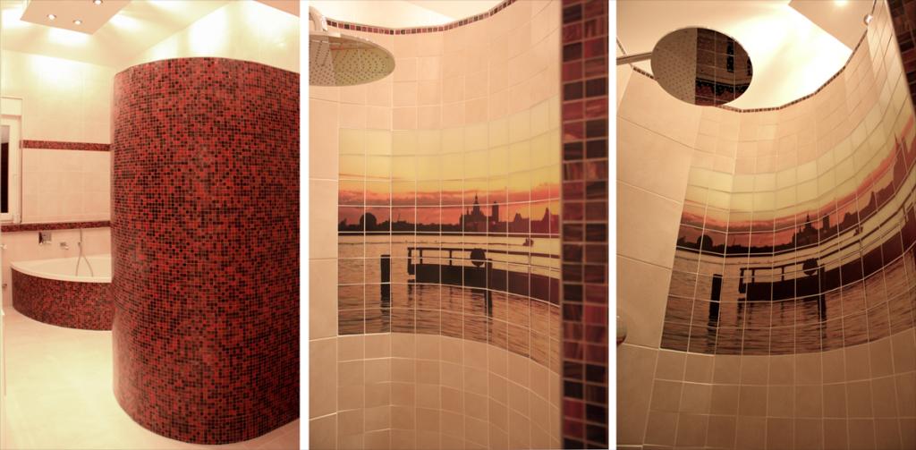 Gestaltung einer exklusiven Runddusche mit entspiegelten Visiolith-Glasfotofliesen. Wandgestaltung: 141,1cm x 80,5cm / Anzahl:112 / Fliesenformat: 98mm x 98mm / Motiv: Kundendatei