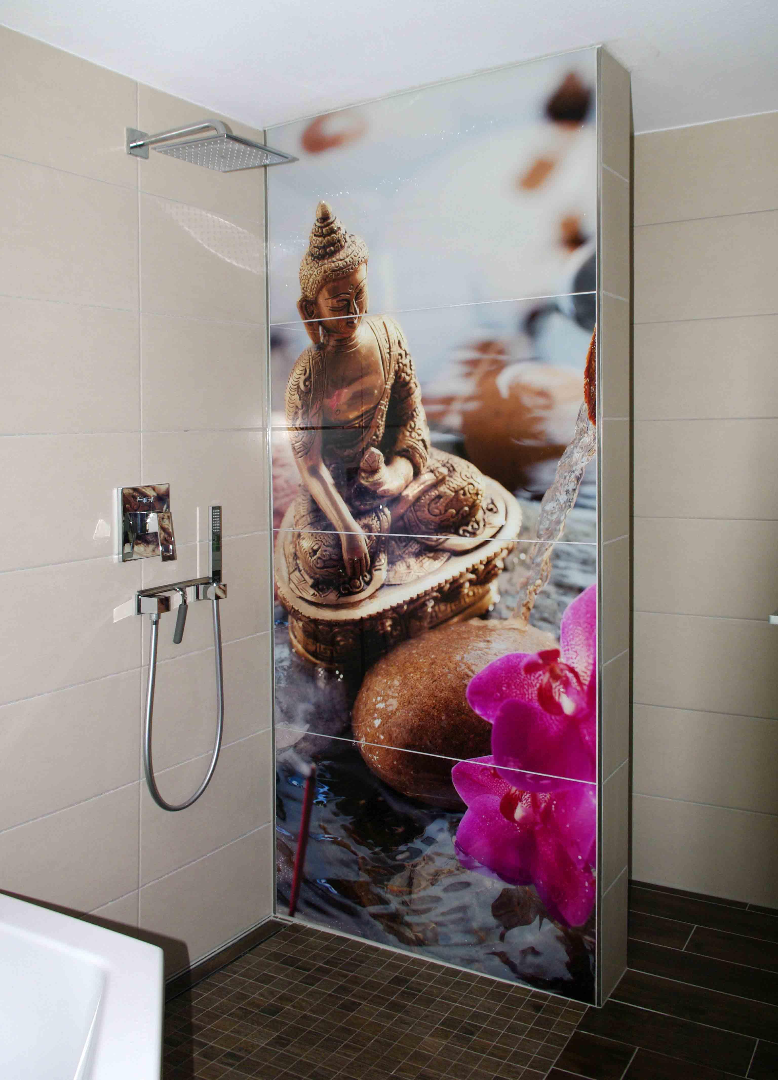 Massive duschtrennwand mit vier visiolith fotofliesen - Fotofliesen bad ...